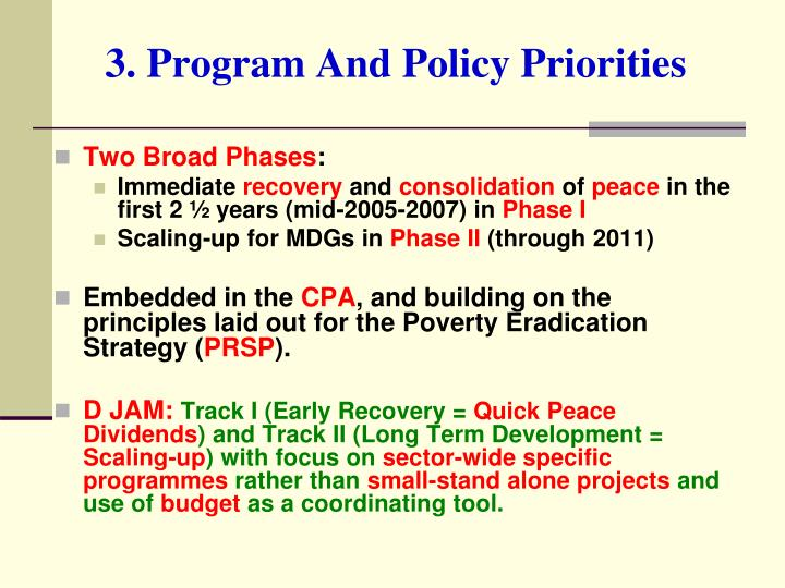3. Program And Policy Priorities