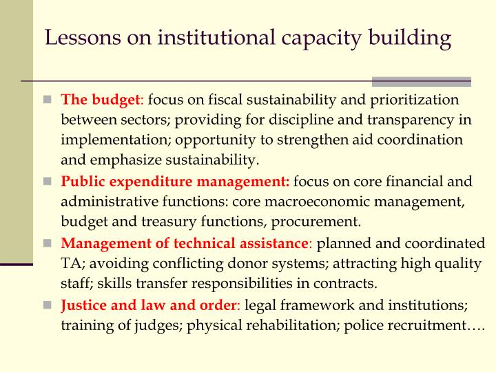 Lessons on institutional capacity building