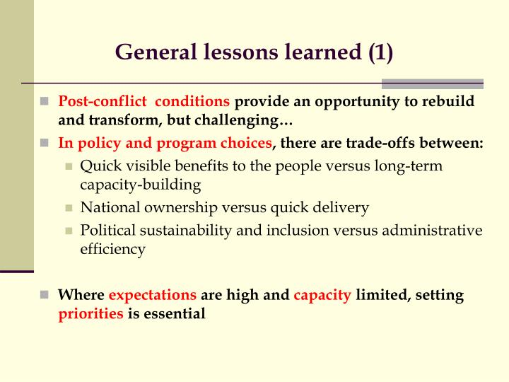 General lessons learned (1)