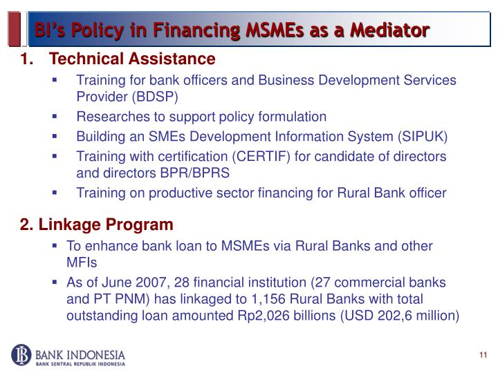 BI's Policy in Financing MSMEs as a Mediator