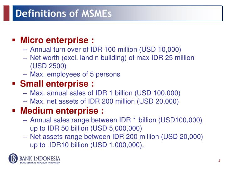 Definitions of MSMEs