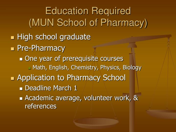 Education required mun school of pharmacy