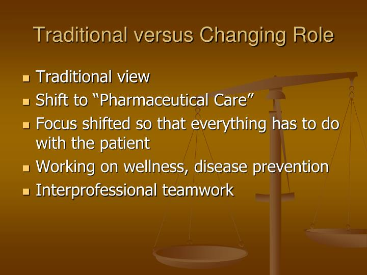 Traditional versus Changing Role