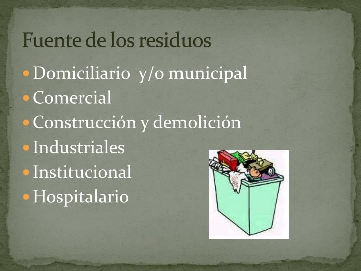 Fuente de los residuos