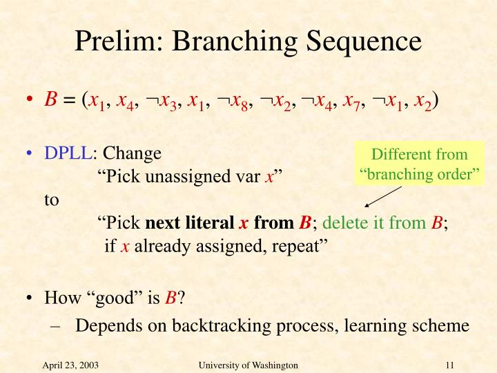 Prelim: Branching Sequence