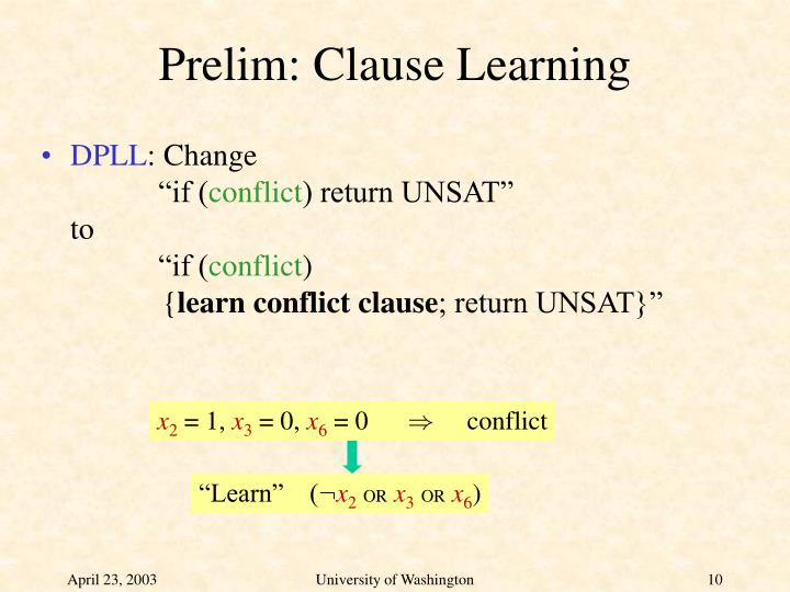 Prelim: Clause Learning