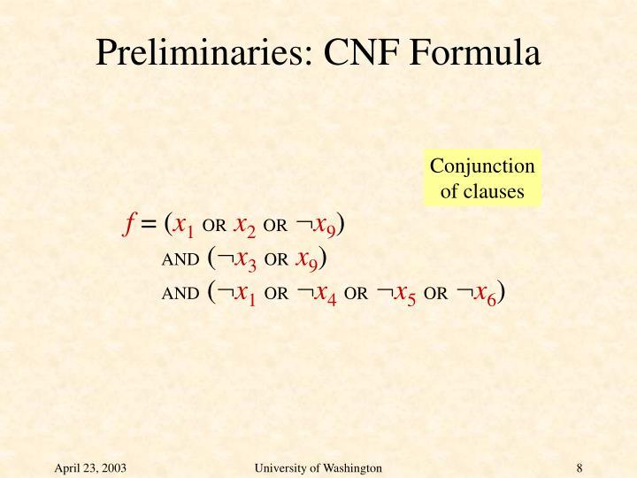 Preliminaries: CNF Formula