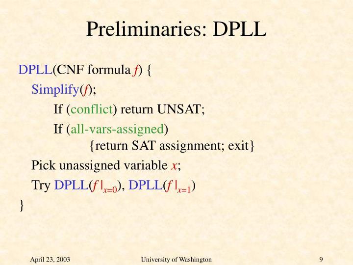 Preliminaries: DPLL