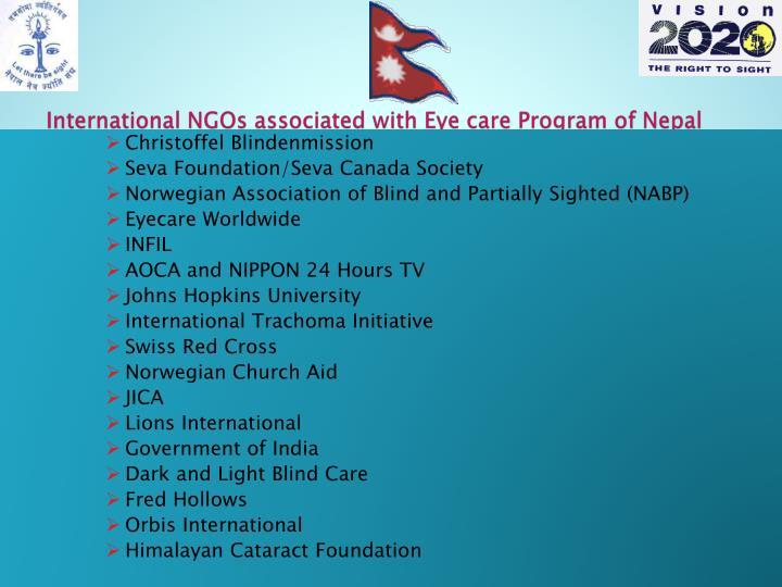 International NGOs associated with Eye care Program of Nepal