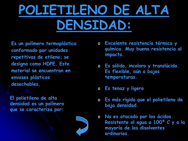 POLIETILENO DE ALTA DENSIDAD: