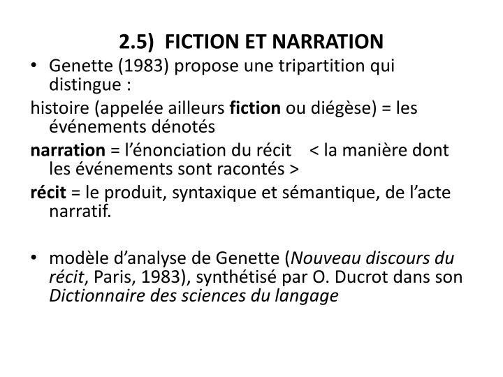 2.5)  FICTION ET NARRATION