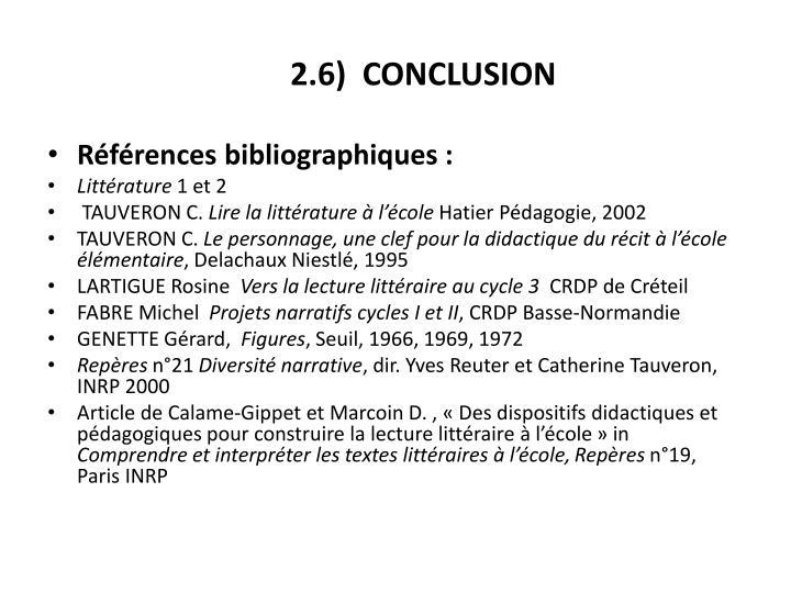 2.6)  CONCLUSION