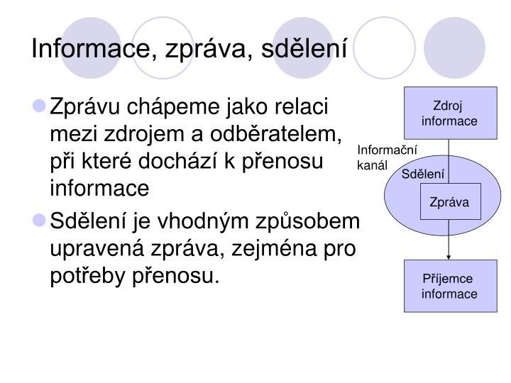 Informace, zpráva, sdělení