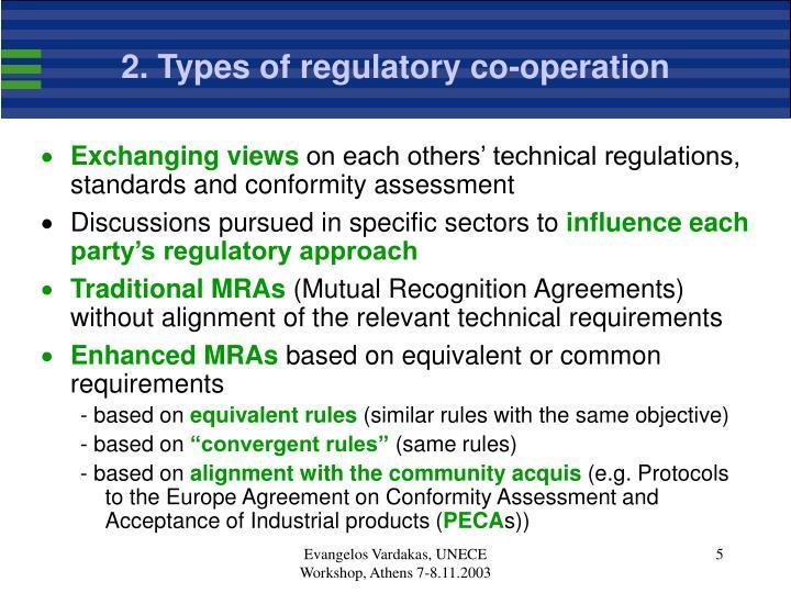 2. Types of regulatory co-operation