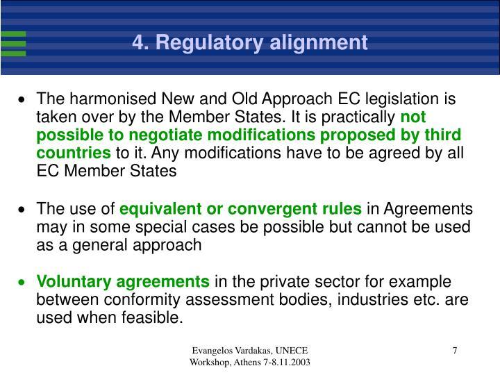 4. Regulatory alignment