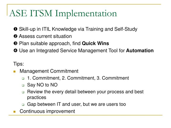 ASE ITSM Implementation