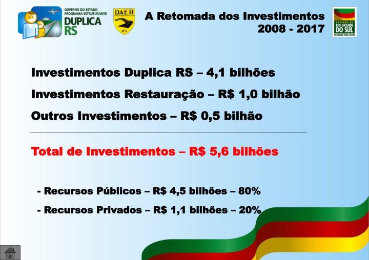 A Retomada dos Investimentos