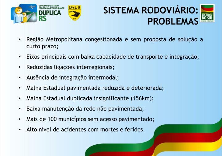 Região Metropolitana congestionada e sem proposta de solução a curto prazo;