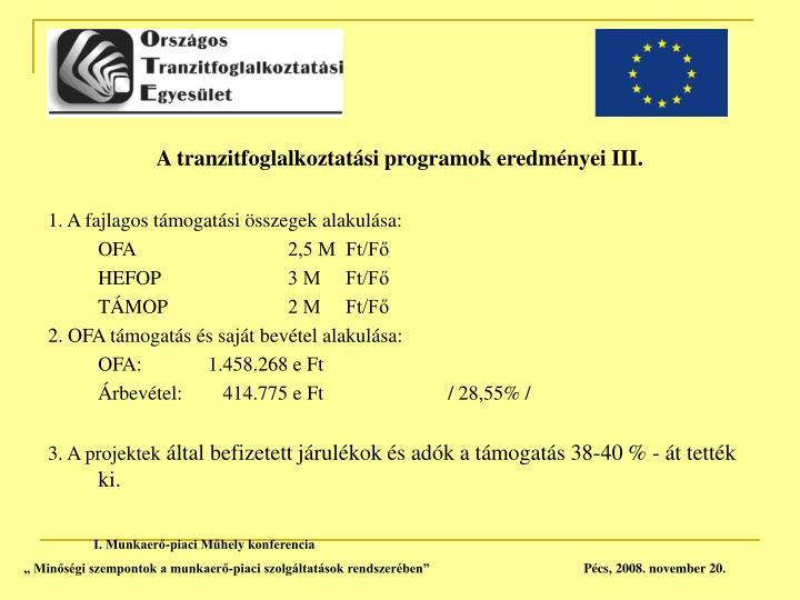 A tranzitfoglalkoztatási programok eredményei III.
