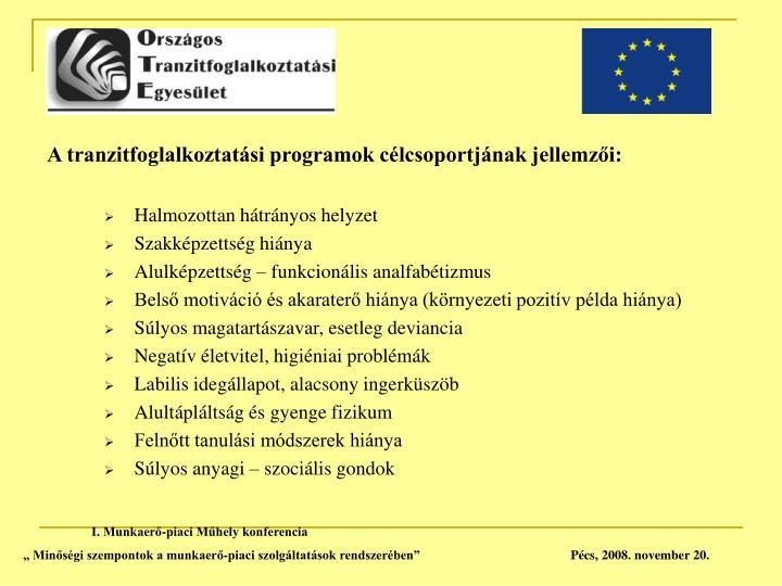 A tranzitfoglalkoztatási programok célcsoportjának jellemzői: