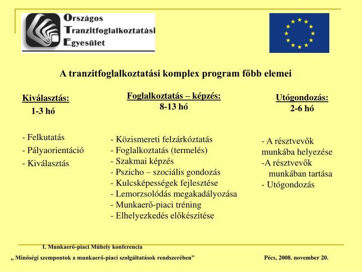 A tranzitfoglalkoztatási komplex program főbb elemei