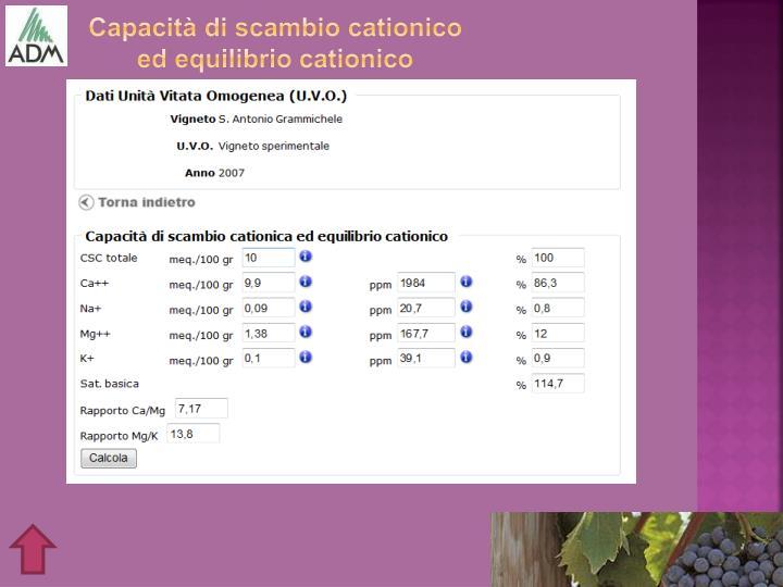 Capacità di scambio cationico ed equilibrio cationico