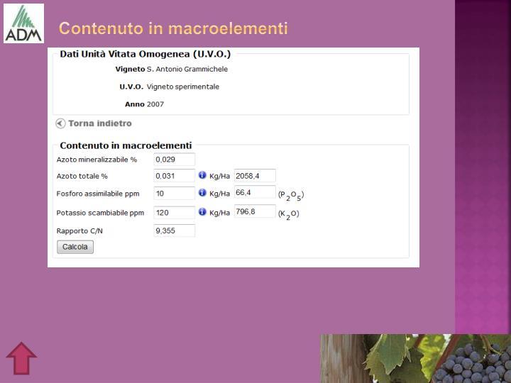 Contenuto in macroelementi