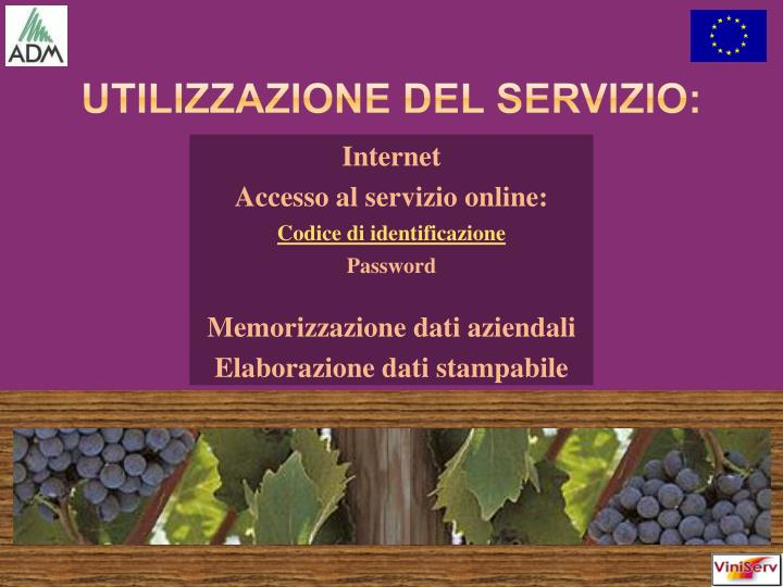 Utilizzazione del servizio: