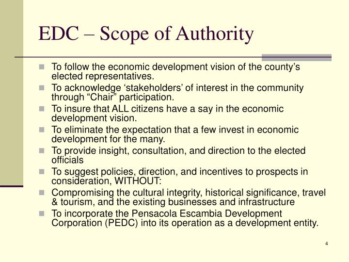 EDC – Scope of Authority