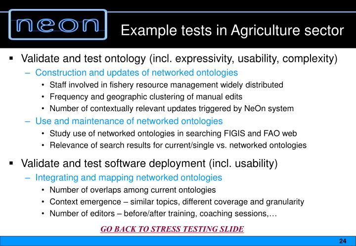 Example tests in Agriculture sector