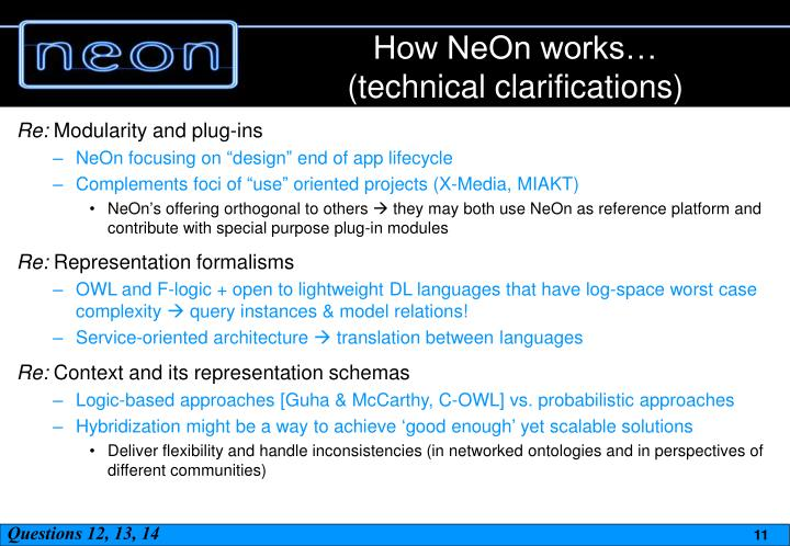 How NeOn works…