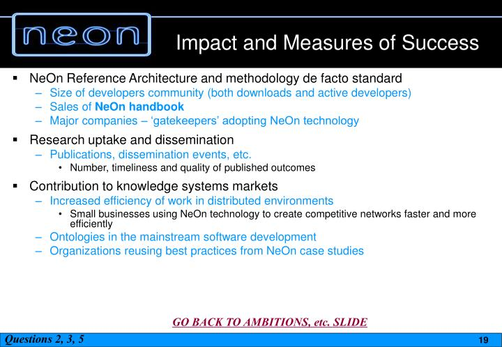 Impact and Measures of Success