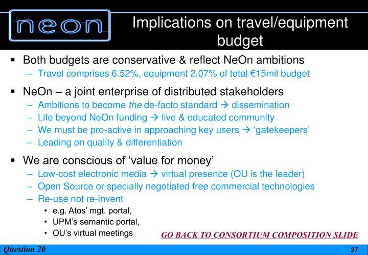 Implications on travel/equipment budget