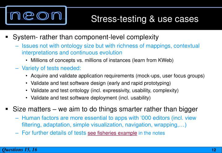 Stress-testing & use cases