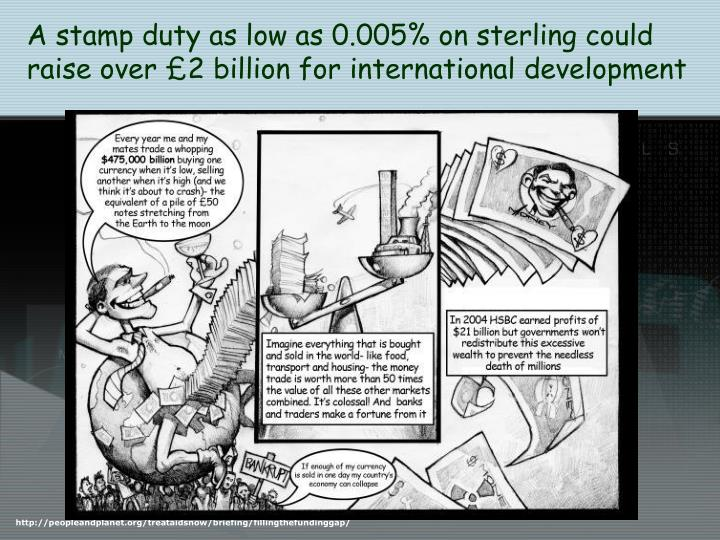 A stamp duty as low as 0.005% on sterling could raise over £2 billion for international development