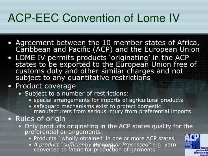ACP-EEC Convention of Lome IV