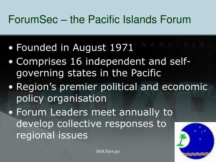 ForumSec – the Pacific Islands Forum