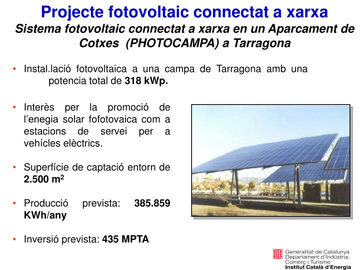 Projecte fotovoltaic connectat a xarxa
