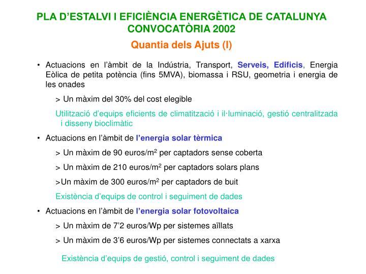 PLA D'ESTALVI I EFICIÈNCIA ENERGÈTICA DE CATALUNYA CONVOCATÒRIA 2002
