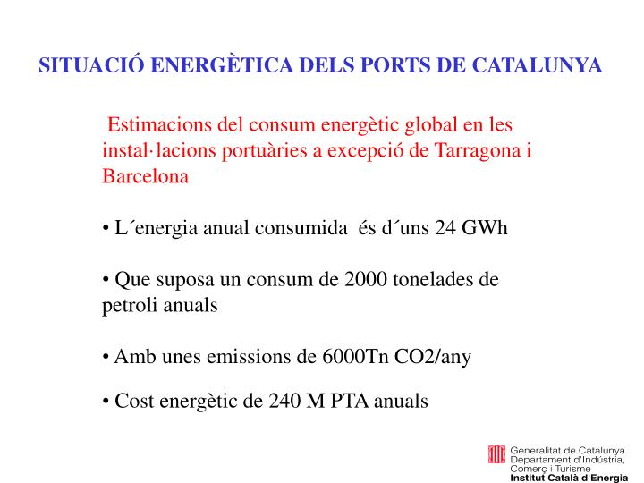 SITUACIÓ ENERGÈTICA DELS PORTS DE CATALUNYA
