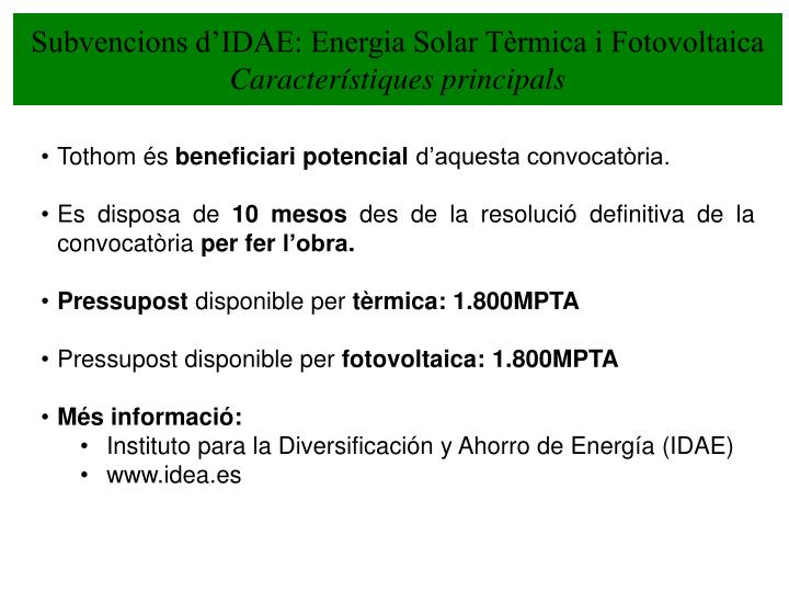 Subvencions d'IDAE: Energia Solar Tèrmica i Fotovoltaica