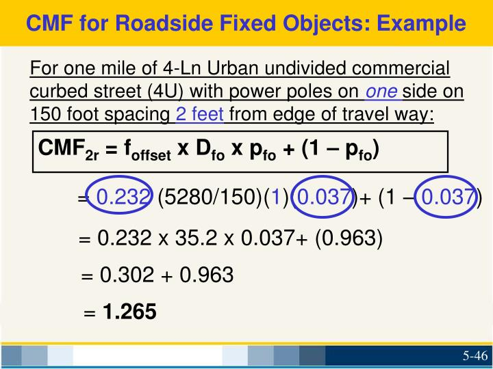 CMF for Roadside Fixed Objects: Example