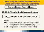 crash frequency prediction models for urban suburban roadway segments3
