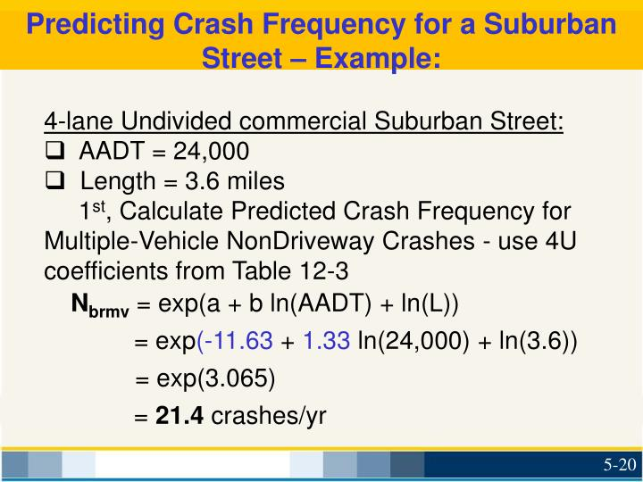 Predicting Crash Frequency for a Suburban Street – Example: