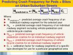 predicting crash frequency for peds bikes on urban suburban streets