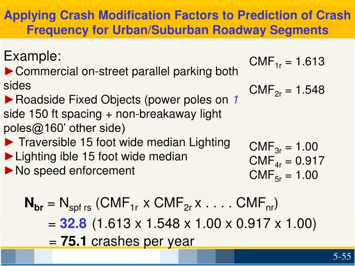 Applying Crash Modification Factors to Prediction of Crash Frequency for Urban/Suburban Roadway Segments