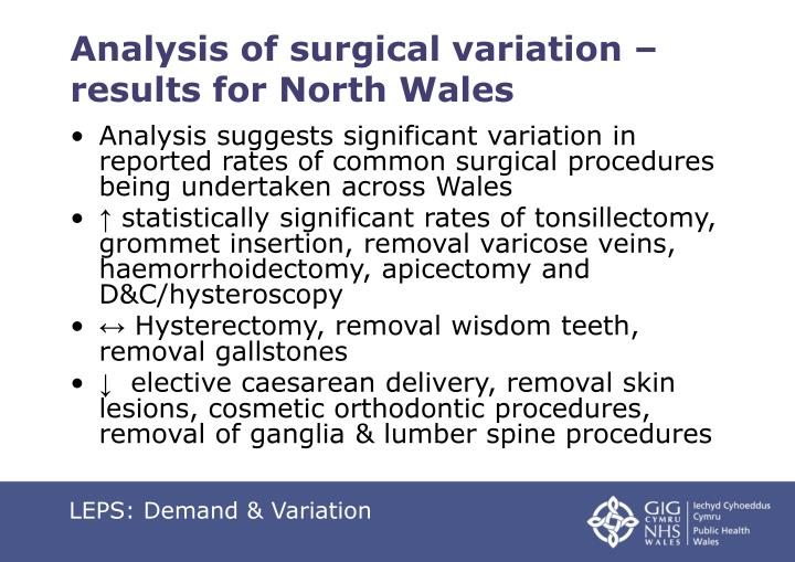 Analysis of surgical variation – results for North Wales
