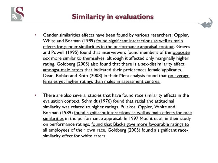 Similarity in evaluations