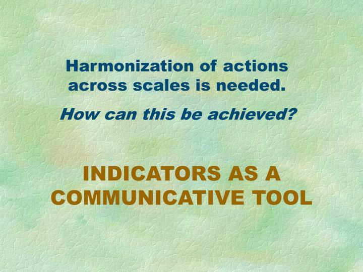 Harmonization of actions across scales is needed.