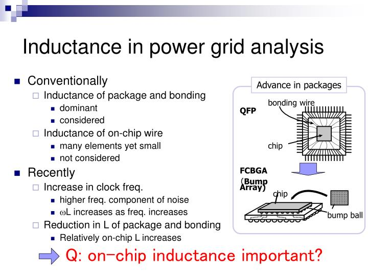 Inductance in power grid analysis